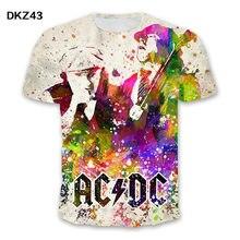 2020 verão camiseta carta impressão rock top verão ac/dc camiseta moda masculina nova camiseta engraçado casual crianças 3d t camisa
