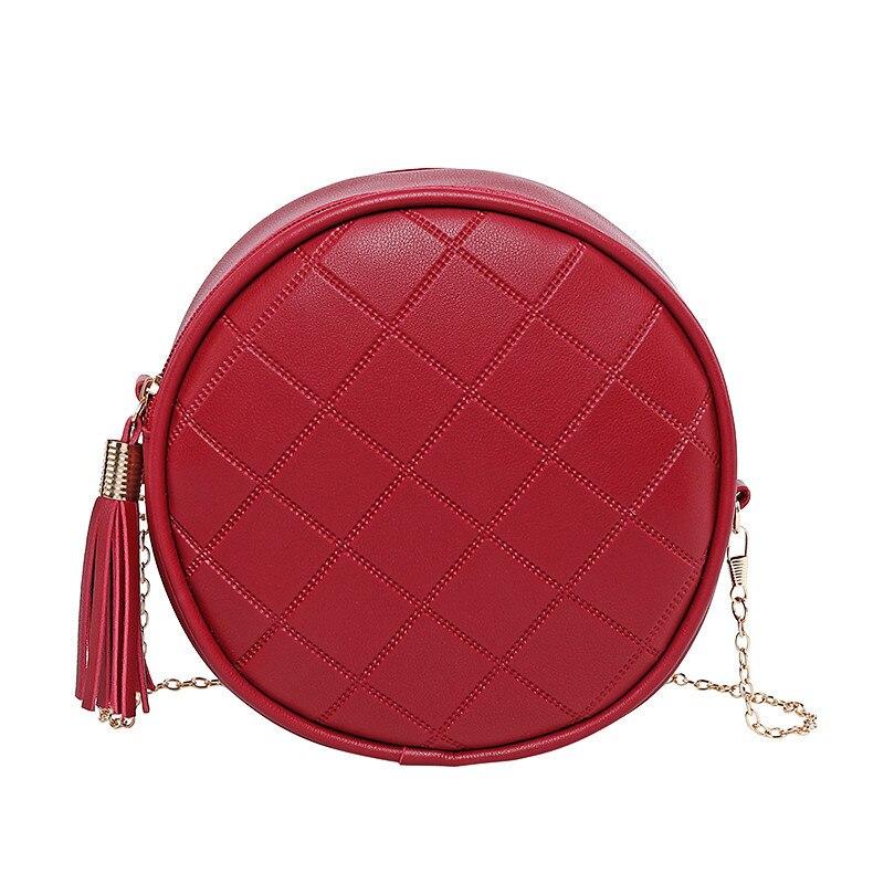 2020 New Korean Tassel Small Round Bag Wild Chain Messenger Bag Simple Fashion Woman Shoulder Bag