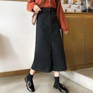 Image 2 - Skirts Women Denim A Line Simple Korean Style Button Pocket Harajuku High Waist Soft Womens Calf Length Skirt Streetwear Chic