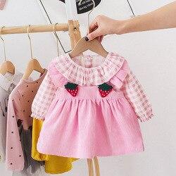 Princesa meninas manga longa veludo xadrez retalhos tutu vestido adorável morango bebê vestido primavera roupas infantis 3m-6t vestidos