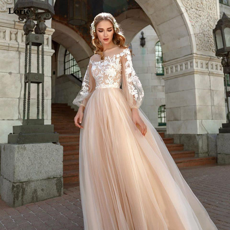 Lorie Champagne Princess Wedding Dress A-Line Puff Sleeve Wedding Gowns Boho Lace Appliques Lace Bridal Dresses