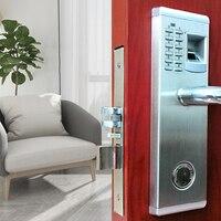 3 In 1 ลายนิ้วมือและคีย์บอร์ด Keyless Smart Lever ประตูล็อคประตูไฟฟ้าล็อคลายนิ้วมือรหัสปลดล็อกสำหรับ Home Office ...