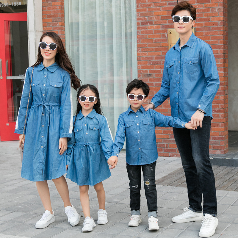2020 Korean Casual Styel Mother Daughter Jeans Dress Family Matching Denim Shirts Blouse Jackets Father Mother Son Outfits