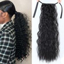 """SHANGKE 2"""" длинные кудрявые конский хвост для черных женщин волосы термостойкие синтетические волосы конский хвост наращивание волос"""