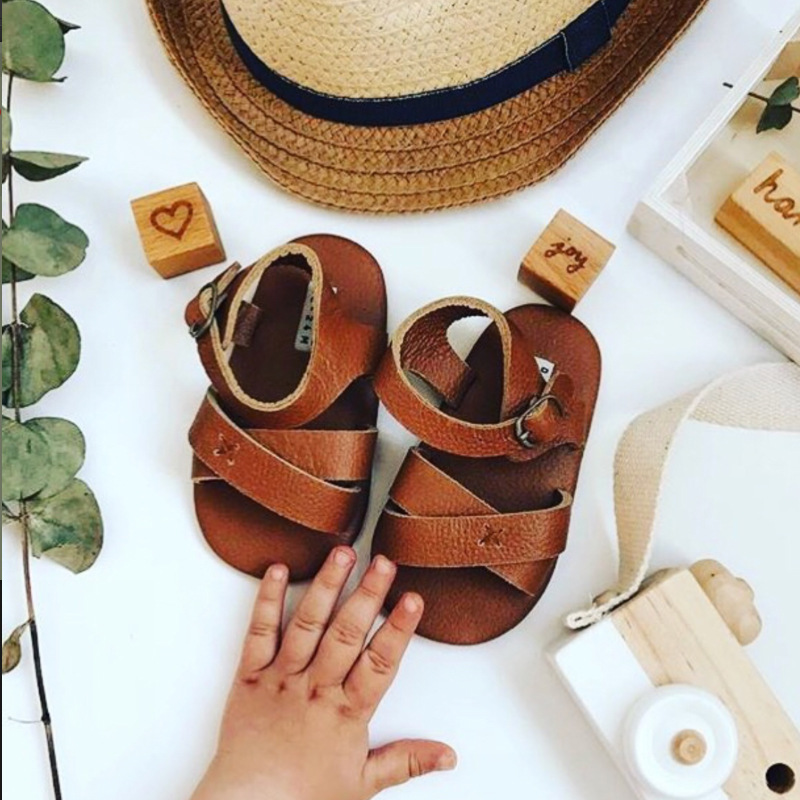 Donsje Real Cowhide Made High Quality Baby Boys Girls Sandals Toddler Summer Shoes