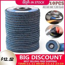 10PCS Professionale Dischi Lamellari 115 millimetri 4.5 Pollici Dischi Abrasivi 40/60/80/120 Grit Grinding Ruote Lame per Angle Grinder