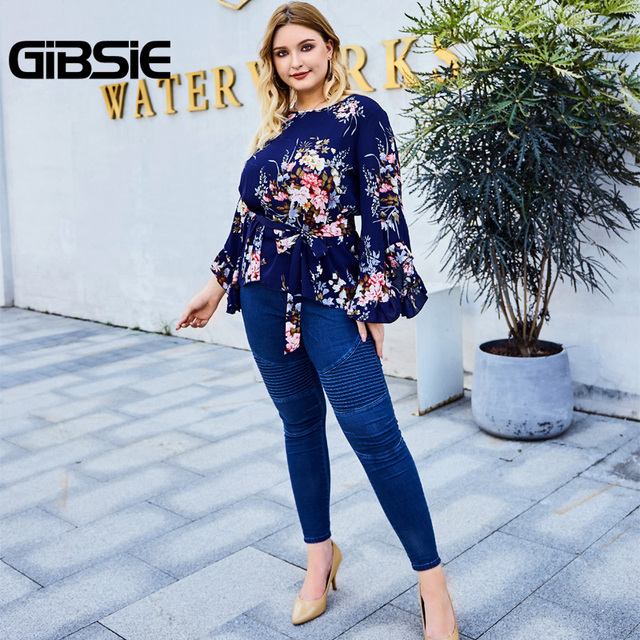 GIBSIE Floral Print Belted Women Tops and Blouses Plus Size Autumn Ladies Round Neck Flare Long Sleeve Holiday Blouse 2019 5