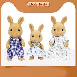 Sylvanian famílias brinquedo coelho doce família contém três bonecas alta 15cm crianças presentes de aniversário meninas casa de jogo boneca 5129