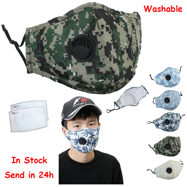 Camouflage Mascarilla PM2.5 Face Mask Respirator Mask Filter face shield Masque maseczki ochronne