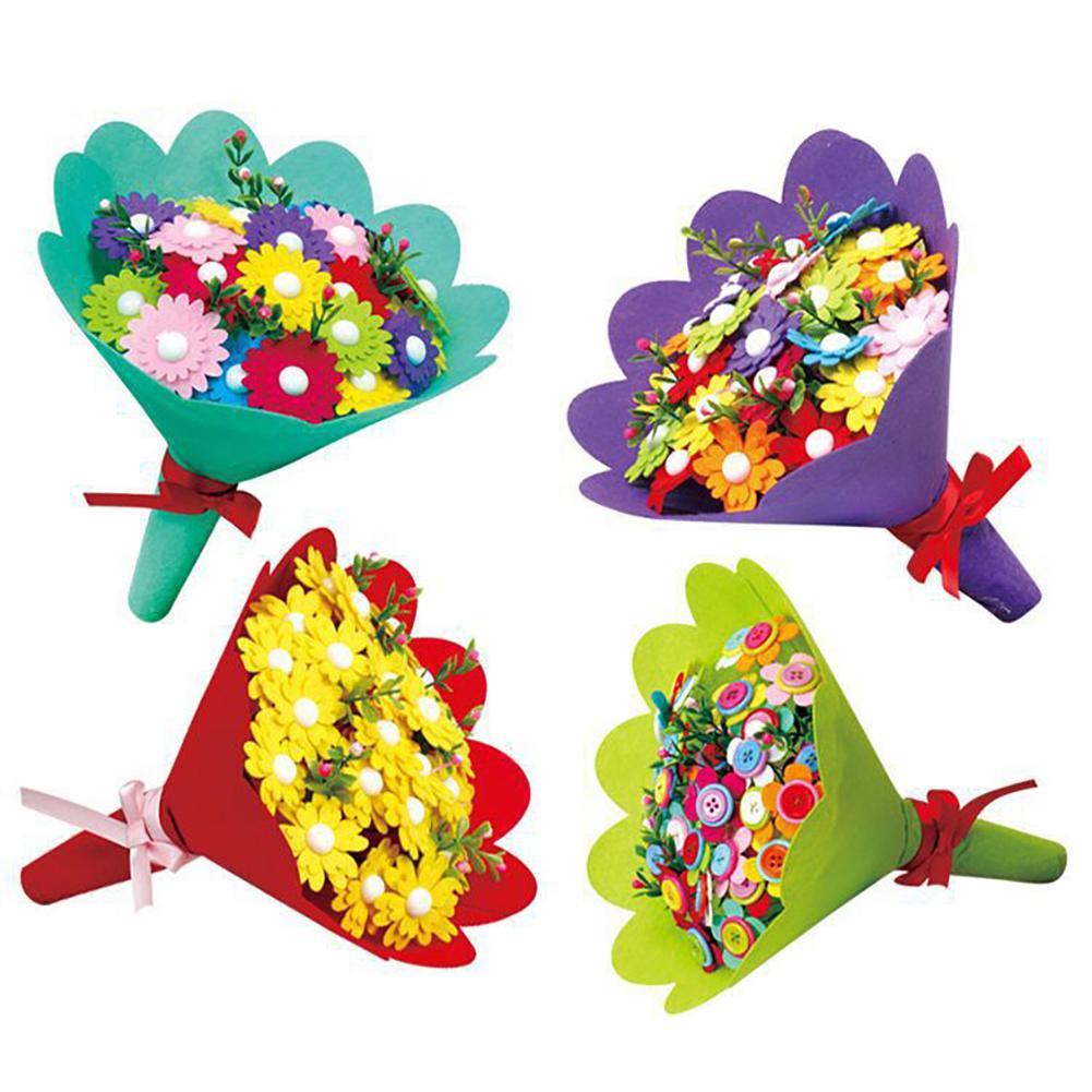 Kindergarten Handmade Puzzle Nonwoven Flower Bouquet DIY Children Craft Toy Gift
