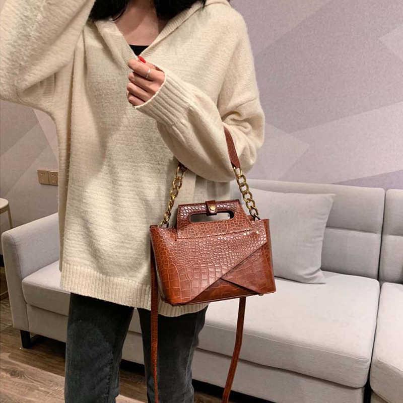 Moda timsah kadın omuz çantaları tasarımcı çantaları lüks Pu deri zincirler çapraz vücut kadın çantası küçük Flap bayan çanta 2019