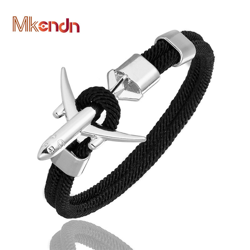 MKENDN Fashion Airplane Anchor Bracelets Men Charm Rope Chain Paracord Bracelet Male Women Air force style Wrap Metal Sport Hook