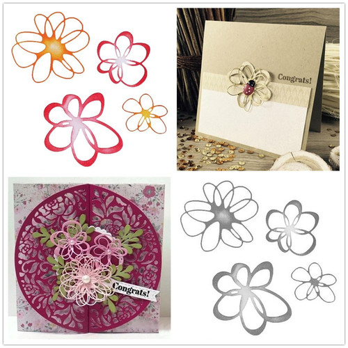 4pcs Happy Flowers Dies Metal Cutting Dies Card Making Scrapbooking Making Embossing Cuts Stencil Craft Dies
