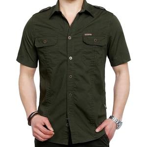 Image 5 - VINRUMIKA Große Größe M 5XL 2020 Sommer männer casual marke kurzarm shirt mann 100% reine baumwolle khaki shirts armee grün kleidung