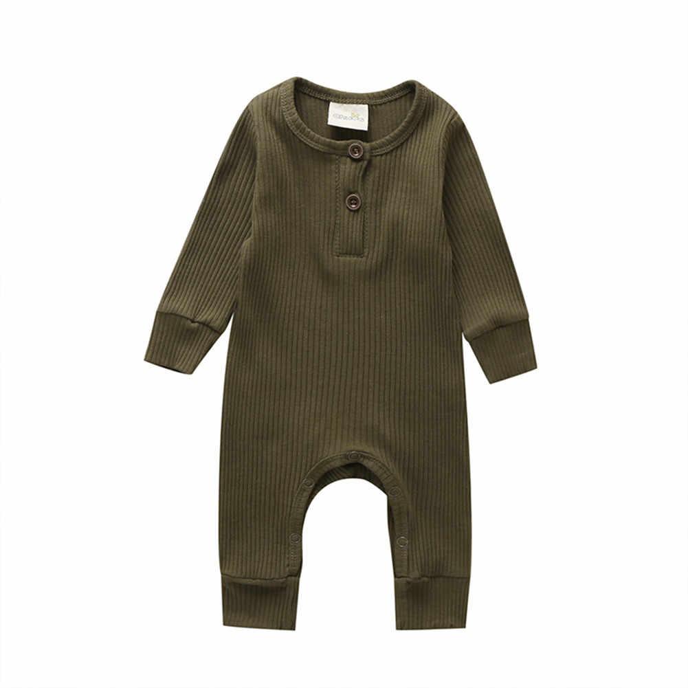 2019 ベビー春秋の服新生児幼児ベビー少年少女綿ロンパースニットリブジャンプスーツ固体服暖かい