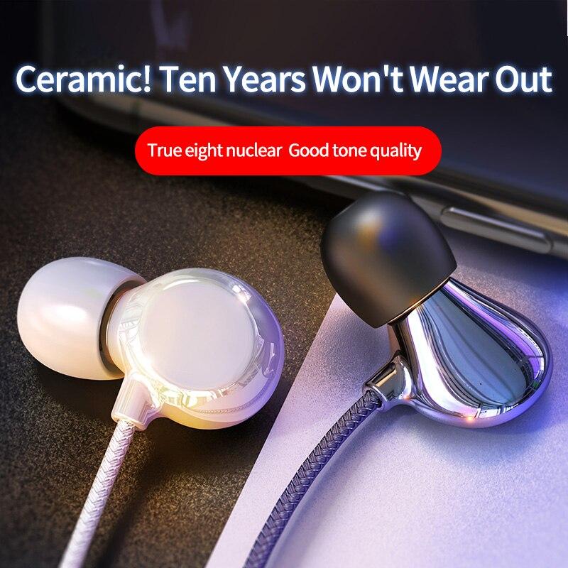 Керамические уникальные наушники-вкладыши 3,5 мм 8D, стерео, басовый разъем, проводная гарнитура с микрофоном для Iphone, Samsung, Huawei