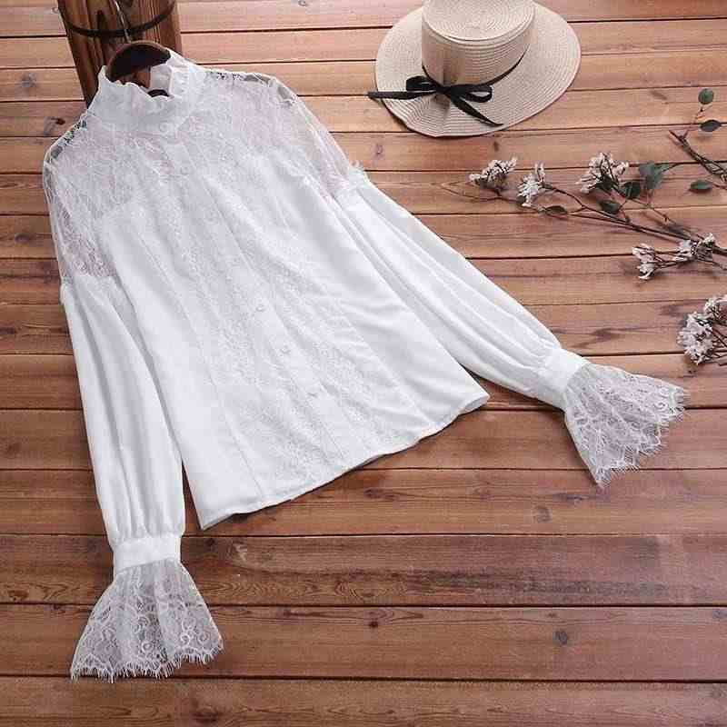 ZANZEA 패션 여성용 터틀넥 퍼프 슬리브 레이스 메쉬 블라우스 여성 속옷 탑스 OL Blusas Femininas Pacthwork Ruffles Shirt7