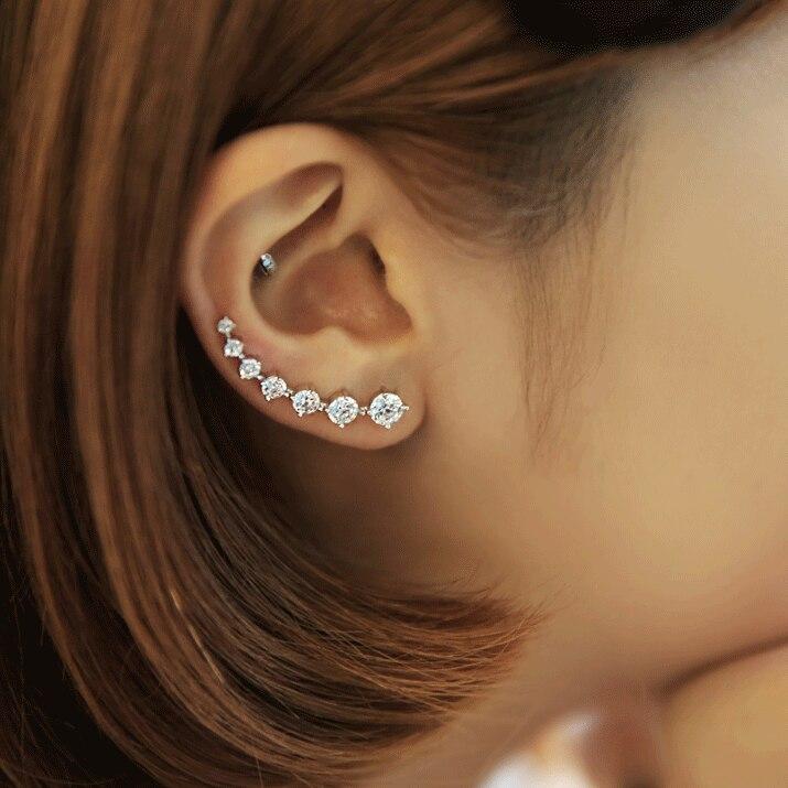 Reethi nuevo alta calidad zirconio Super brillante de pendiente de plata esterlina 925 para mujeres venta al por mayor de joyería regalo oído fila