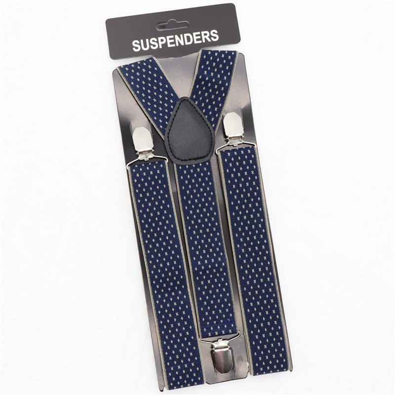 Pattern 3.5cm Width Solid Color Suspender Adjustable Elastic Braces 3 Clip Shirt Stay Vintage Men Suspenders Clothes Accessories