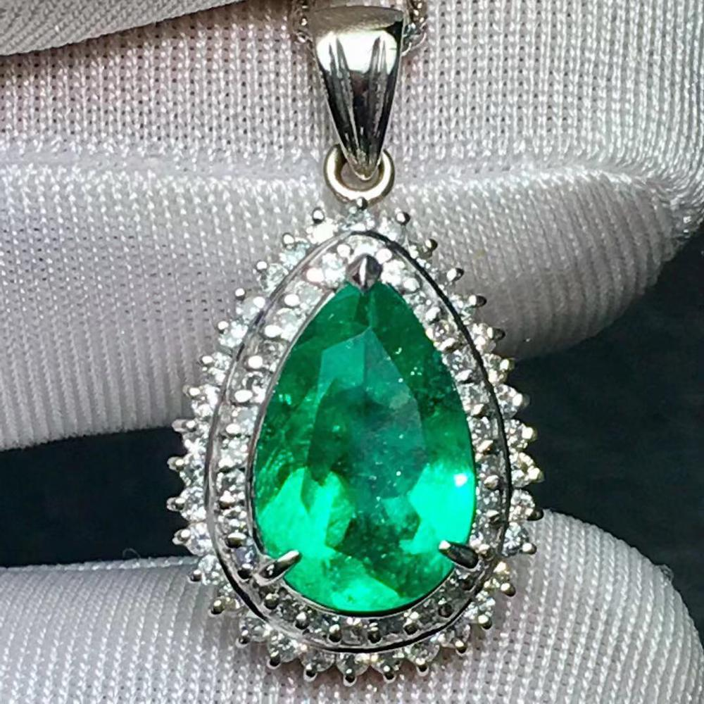 Colombia Emerald Pendant  Jewelry Platinum Gold Pt900 Natural 2.31ct Emerald Gemstone Female Pendants For Women Fine Necklace