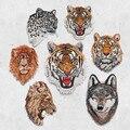 Leopardo tigre león Lobo bordado hierro en parches para ropa apliques sombrero DIY abrigo vestido accesorios pegatina de tela Animal