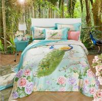 Boho Style Tencel Bedding Set Luxury 4pcs Peacock Flowers Bed Set Silk Duvet Cover Sets Bed Linen Pillowcases Queen King Size