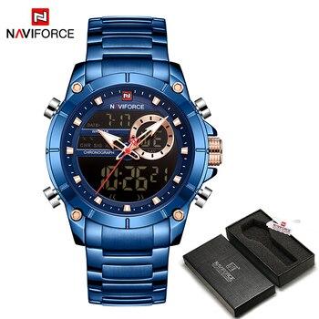 NAVIFORCE Men Military Sport Wrist Watch Gold Quartz Steel Waterproof Dual Display Male Clock Watches Relogio Masculino 9163 16