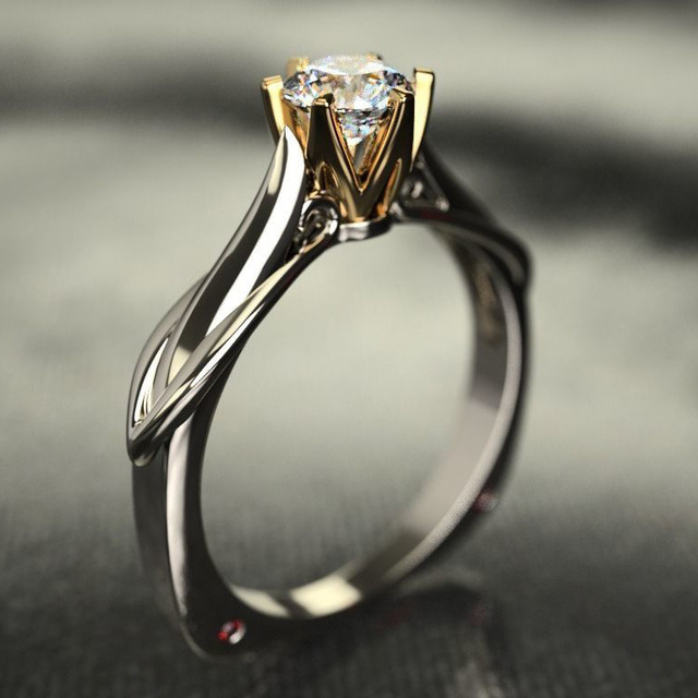 18K Multi Gold Ring for Women Natural 1 Carat Diamond with Diamond Jewelry Anillos De Bizuteria Anillos Mujer Gemstone Rings Box 1