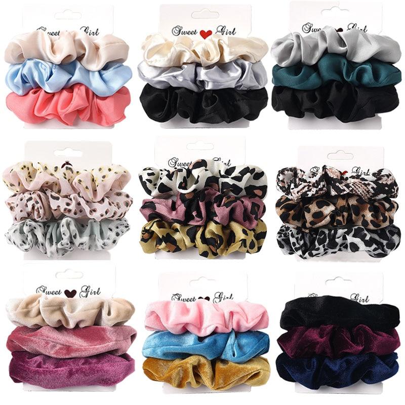 3PCS/1PC Vintage Velvet/Silk Leopard Pure Color Scrunchies Set Elastic Hair Bands Ponytail Holder Fashion Hair Accessories