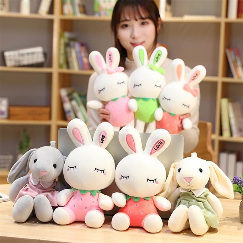 Conejo de peluche de 28/35cm, bonito juguete de peluche de conejito, juguete de dibujos animados para niños, regalo de cumpleaños para bebés, decoración para tienda de coches Hismith máquina de sexo adaptador sexo juguetes para adultos 4,5