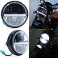 JIUWAN 7 cal motocykl reflektor LED wysokiej/niskiej belki DRL reflektor światła przeciwmgielne u nas państwo lampy Moto reflektor czarny z pokrywa 12V
