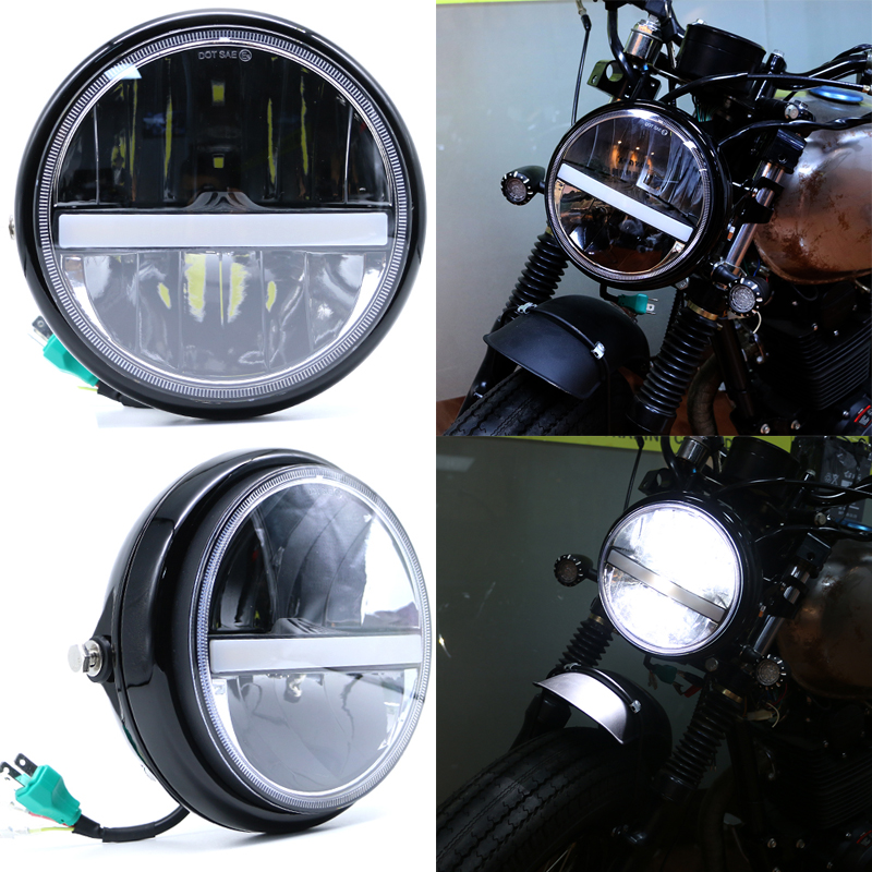 JIUWAN 7 Inch Motorcycle  LED Headlight  High/Low Beam DRL Headlamp Fog Light Passing Lamps Moto Spotlight Black With Cover 12V