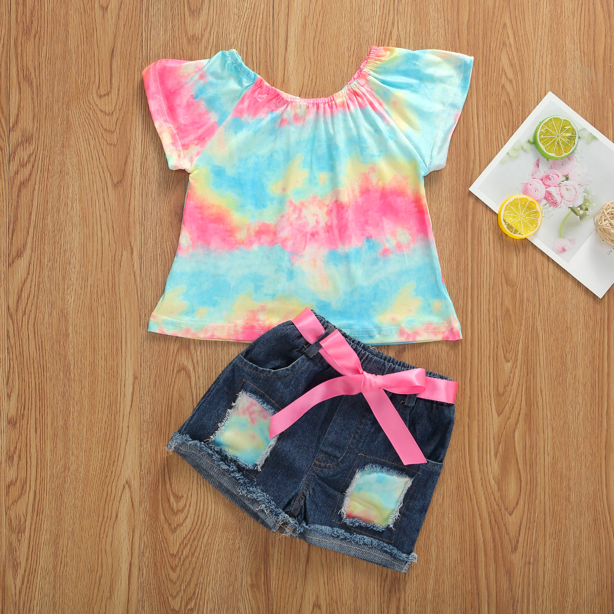 Emmababy Toddler Baby Girl Clothes Summer Off Shoudler Flower Print Tops Denim Ripped Short Pants 2Pcs Outfits Casual Clothes