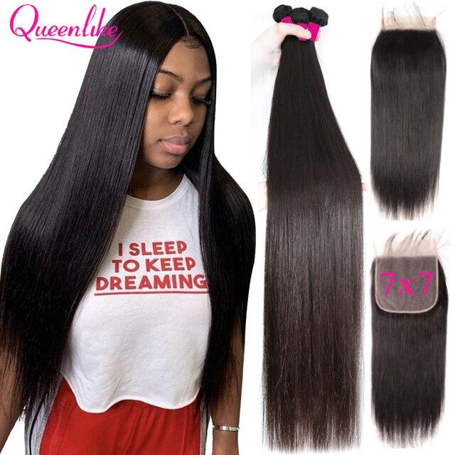 Grote 7X7 Sluiting En 3 Bundels Remy Human Hair Weave Bundels Met Frontale Braziliaanse Steil Haar Bundels Met 7*7 Sluiting