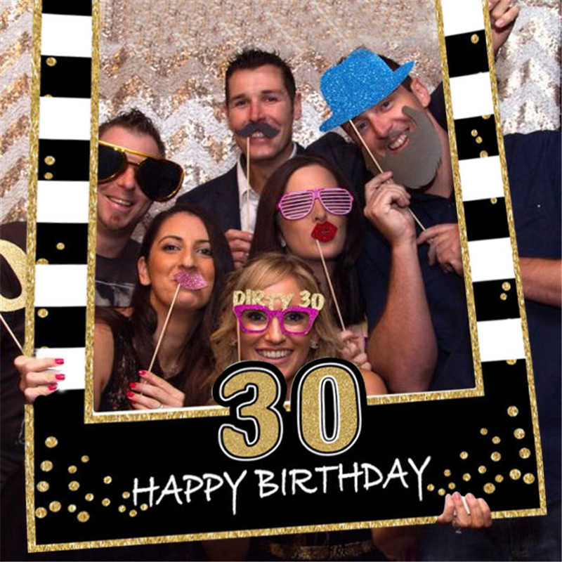 1 16 21 30 40 50 60 Birthday Photo Booth Frame kids Adult Birthday Party Decoration Paper Happy Birthday Photo props Frame