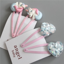 2PCS New Cute Cartoon Heart-shaped BB Clips Girls Hair Acces