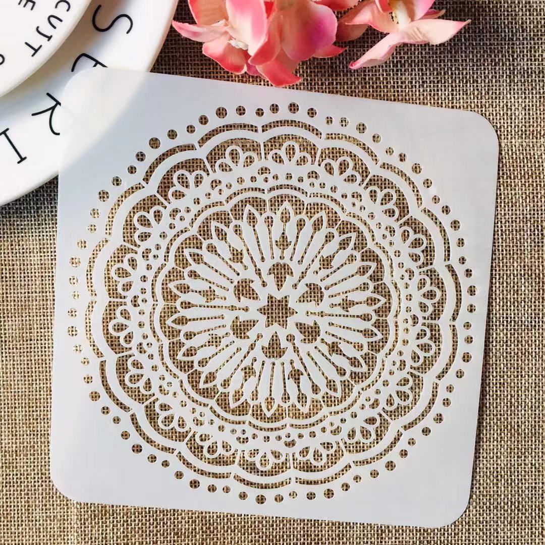 1Pcs Wheel Mandala Round Arrow DIY Layering Stencils Painting Scrapbook Coloring Embossing Album Decorative Template
