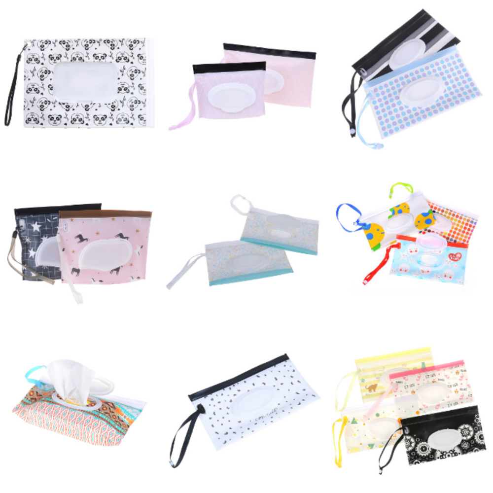 Baby Wet Wipes Bag Reusable Wet Wipes Cover Container Wet Wipes Kid Fashion Print Skin Care Travel Bag Container For Baby Care