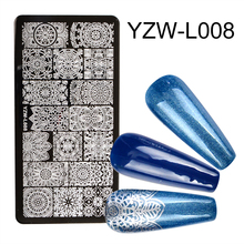 Stamping Plates Nail-Art Image-Plate-Stencil Flower Striped-Line Butterfly 1PC Marble