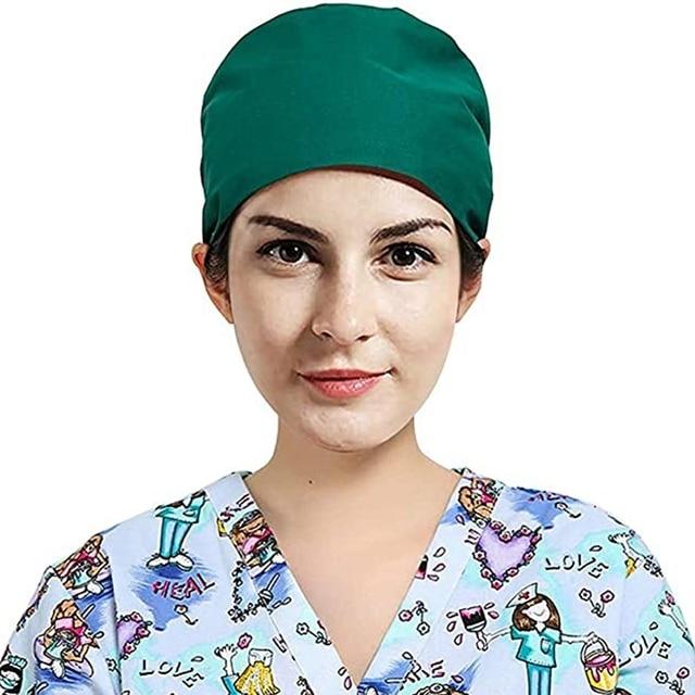 3Pc Frosted Cap Nurse Cap Work Bag Head Dust-Proof Sweat-Proof Belt Isolation Protective Cap 3