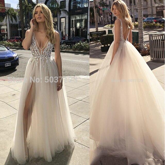 Vestidos de boda de verano 2020 escote en V profundo con cuentas de Alta Split sin espalda una línea de tul sin mangas vestidos de novia estilo Boho Vestido Noiva
