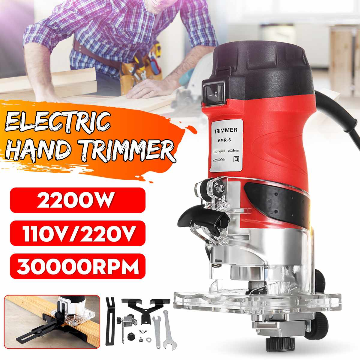 30000rpm 2200W  Woodworking Electric Trimmer Waterproof Wood Milling Engraving Slotting Trimming Machine Set With Accessories|Electric Trimmers| |  - title=