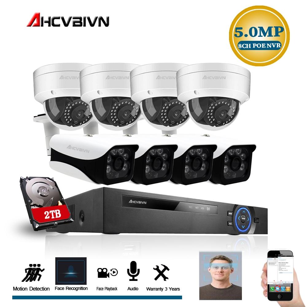 8CH 5MP NVR Drahtlose Wifi Audio Sound CCTV Sicherheit System 5MP Dome IR Cut Kamera Home Surveillance Kit