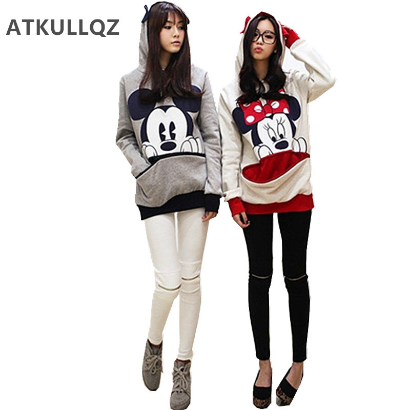 ATKULLQZ Autumn & Winter Korean Brand Women's Coat Minnie Large Size Sweatershirt With Cap Cartoon Hoodie Lovers Clothes Female
