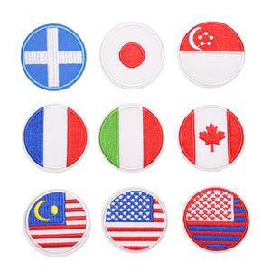 Round Country Flag Patch Stripes Embroidered Russia Italy Japan Flag Tactical Military Patches Army Applique Stripe on Clothes G