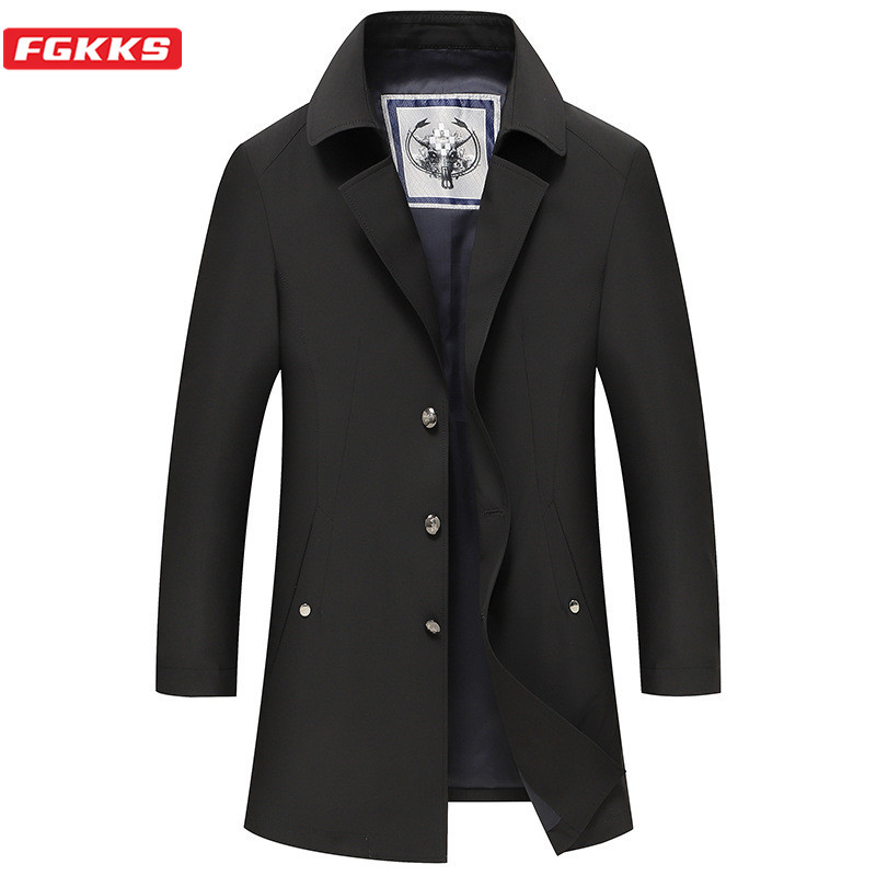 FGKKS 2020 New Men Trench Coats Men's Solid Color Slim Fit Thin Trench Male Casual Mid-Length Trench Coat Brand Clothing