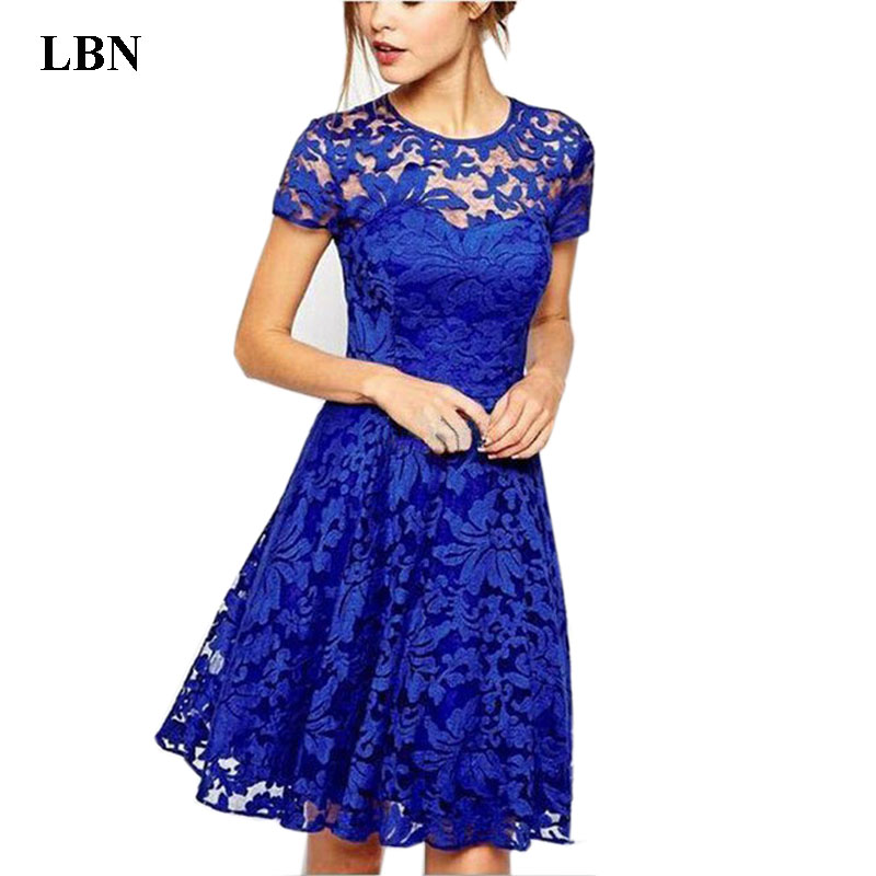 6XL Plus Size Dress Fashion Women Elegant Sweet Hallow Out Lace Dress Sexy Party Princess Slim Summer Dresses Vestidos Red Blue(China)