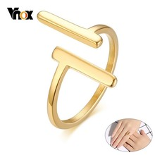 Vnox Minimalist Double T Letter Rings for Women Party Jewelry Gold Tone Stainless Steel anillo Gifts for Girl Female Lady
