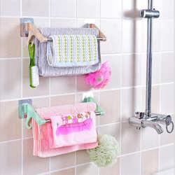 Дыропробивные двойные полюса seamless наклейки вешалка для полотенец стеллаж для полотенец Ванная комната Туалет Подвеска из нержавеющей