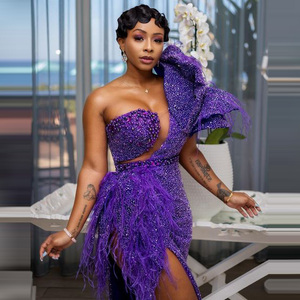 Image 2 - African Dresses For Women Purple Beading With Tassels High Slit One Shoulder Floor Length Evening Formal Long Gowns 2020